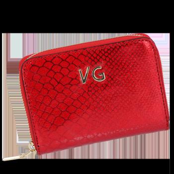 Vittoria Gotti Ekskluzywny Skórzany Portfel Damski w motyw krokodyla Made in Italy Czerwony