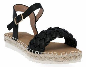Czarne sandały damskie espadryle z plecionką firmy Bellucci