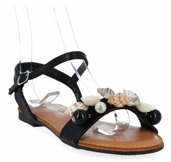 Czarne modne sandały damskie z muszelkami firmy Sergio Todzi