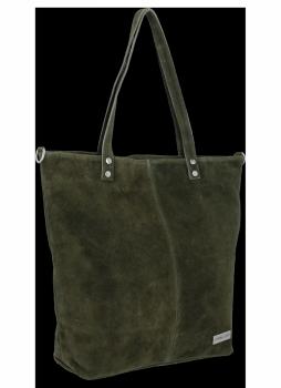 Uniwersalna Torebka Skórzana Shopper Bag firmy Vittoria Gotti Ciemno Zielona