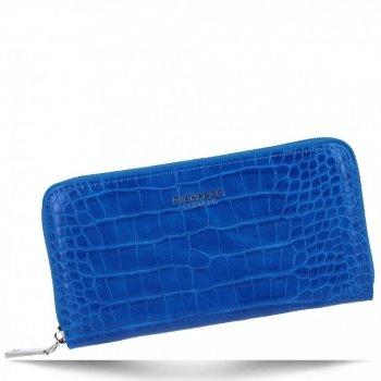 Eleganckie Portfele Damskie XL w motyw aligatora firmy Diana&Co Kobaltowy