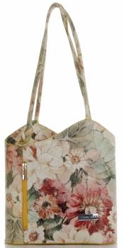 Uniwersalna Torebka Skórzana z funkcją plecaczka  firmy Vittoria Gotti Made in Italy we wzory Kwiatów Żółta