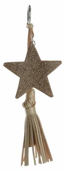 Dwustronny Brelok do torebki Stars z cyrkonami z grubym frędzlem Złoty
