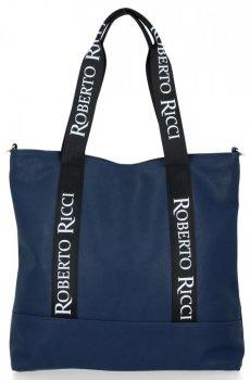 Uniwersalne i Modne Torebki Damskie Shopper w rozmiarze XL firmy Roberto Ricci Granat