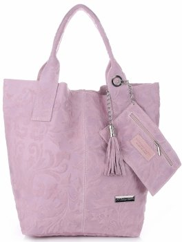 VITTORIA GOTTI Made in Italy Torebka Skórzana Shopperbag w Tłoczone Wzory Pudrowy Róż
