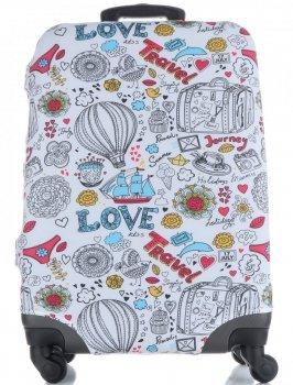 Pokrowiec na Walizkę firmy Snowball w rozmiarze M Love Travel Mulikolor Biała