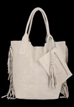 Modna Torebka Skórzana Zamszowy Shopper Bag w Stylu Boho firmy Vittoria Gotti Beżowa