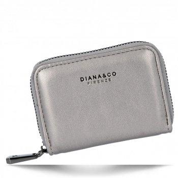 Uniwersalne Małe Portfele Damskie firmy Diana&Co Ciemne Srebro