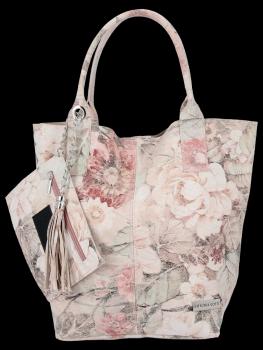 Modna Torebka Skórzana Shopper Bag w kwiaty firmy Vittoria Gotti Pudrowy Róż