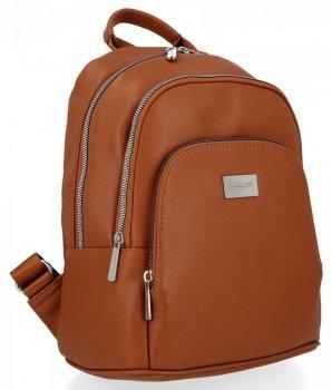 Dwukomorowe Uniwersalne Plecaczki Damskie 100% Vegan firmy David Jones Rudy