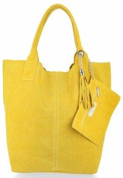 Włoska Torebka Skórzana  Shopper bag Zamsz Naturalny Limonka