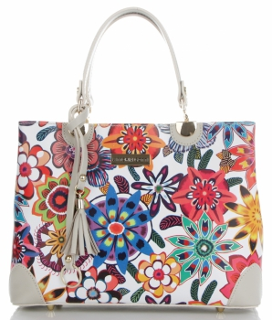 Vittoria Gotti Modna Torebka Skórzana Elegancki Kuferek Made in Italy we wzór kwiatów Multikolor Beż