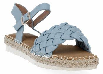 Niebieskie sandały damskie espadryle z plecionką firmy Bellucci