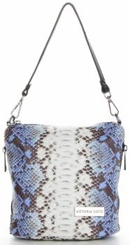 Vittoria Gotti Firmowa Listonoszka Skórzana Made in Italy w modny wzór Węża Niebieska