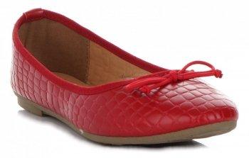 Eleganckie Balerinki Damskie we wzór aligatora marki Bellucci Czerwone