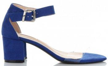 Modne Sandały Damskie na obcasie firmy Bellucci Niebieskie