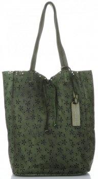 Vittoria Gotti Premium Torebka Skórzana Ażurowy ShopperBag w stylu Vintage Butelkowa Zieleń