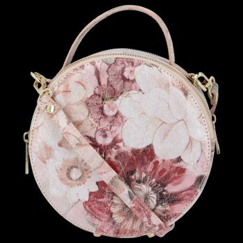 Okrągła Torebka Skórzana Listonoszka w kwiaty firmy Vittoria Gotti Pudrowy Róż