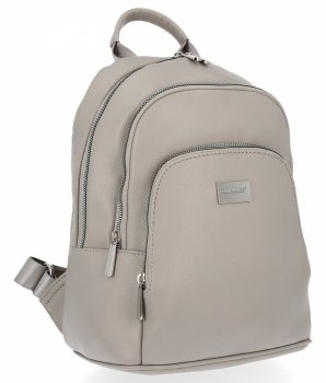Dwukomorowe Uniwersalne Plecaczki Damskie 100% Vegan firmy David Jones Jasno Szary