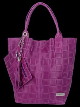 Modne Torebki Skórzane Shopper Bag XL z Etui firmy Vittoria Gotti Fiolet