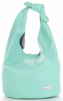 Vittoria Gotti Made in Italy Modny Shopper XL z Kosmetyczką Uniwersalna Torba Skórzana na co dzień Miętowa