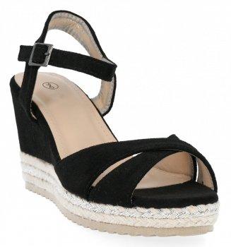 Czarne sandały damskie na koturnie firmy Lady Glory