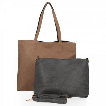 BEE BAG Dámske tašky 2 v 1 Shopper s poštár milosť tme bez / sivá