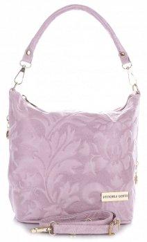 VITTORIA GOTTI vyrobená v Taliansku Kožená taška na messenger v reliéfnych vzoroch prášková ružová