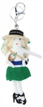 Kľúčenka pre kabelku bábika tamburína zelená