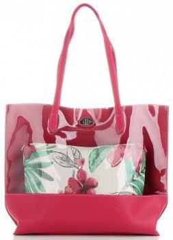 Módna transparentná dámska taška s kozmetickou taškou David Jones Multicolor Fuchsie