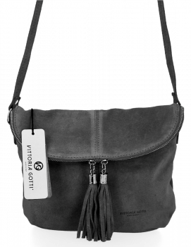 Univerzálna príležitostná kožená messengerová taška vo veľkosti M od Vittoria Gotti Grey