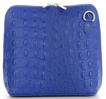 Talianska Kožená taška z pravej kože so vzorom krokodílovej kobaltovej kože
