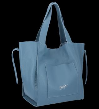 Vittoria Gotti talianska Kožená nákupná taška s kozmetickou taškou Modrá