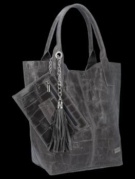 Univerzálna kožená nákupná taška XL v zvieracom štýle od Vittoria Gotti Grey