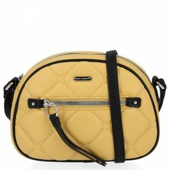 Prešívaná dámska malá taška David Jones žltý