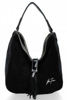 Velina Fabbiano Firemná univerzálna dámska taška príležitostná pravá semišová eko koža Strieborná s čiernou