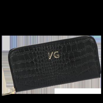 Vittoria Gotti Elegantné značkové kožené Dámske peŘaženky v téme Alligator Čierna