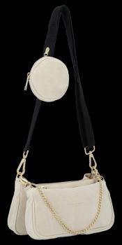 Módne kožené tašky messenger 2 v 1 od talianskej spoločnosti Vittoria Gotti beige