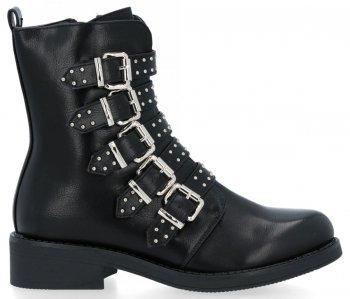 Čierne Módne Dámske členkové topánky s prackami Mia