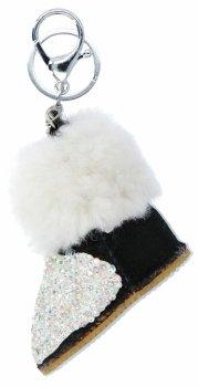 Kľúčenka na tašky topánky s kamienkami čiernej a bielej