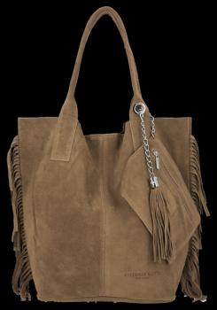 Módna kožená nákupná taška vyrobená zo semišu v Boho štýle od Vittoria Gotti Earthista