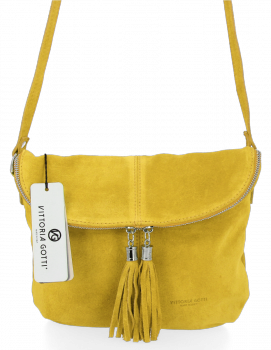 Univerzálna príležitostná kožená messengerová taška vo veľkosti M od Vittoria Gotti Lime
