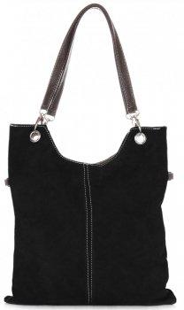 Univerzálne kožené tašky XL originálne semišové čierne