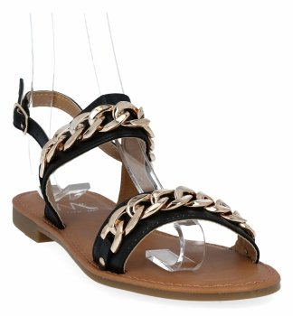 Čierne dámske sandále s retiazkou z Bellica