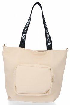 Roberto Ricci Značkové dámske nákupné tašky vo veľkosti XL svetlo béžová