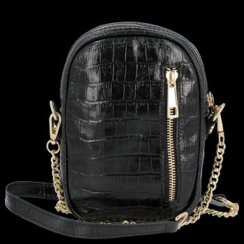 Elegantné kožené tašky messenger Vittoria Gotti v štýle aligátora Čierna