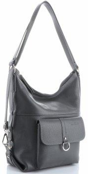 Vittoria Gotti univerzálna a praktická obchodná Kožená taška, príležitostná taška na batoh, veľká taška na Messenger XL, Šedá