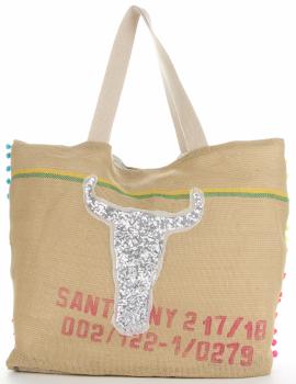 Dámska taška veľkosti XXL je odolná a priestranná ideálna pre letné strieborné bizóny