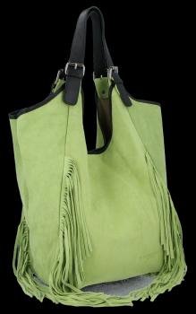 Módna kožená taška Shopper so strapcami od Vittoria Gotti Svetlo zelená