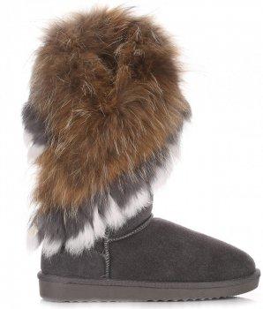 Talianske kožené topánky dámske zimné topánky mýval fur / Rabbit grey